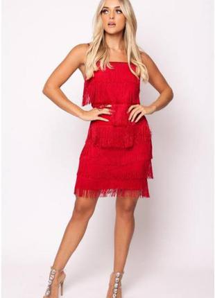 Красное платье с бахромой в стиле гетсби, одри хепберн, 20х