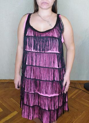Розовое с чёрным платье с бахромой в стиле гетсби, одри хепберн, 20х