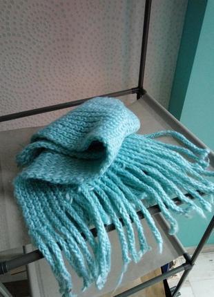 Вязаный мятный длинный шарф бирюзовый