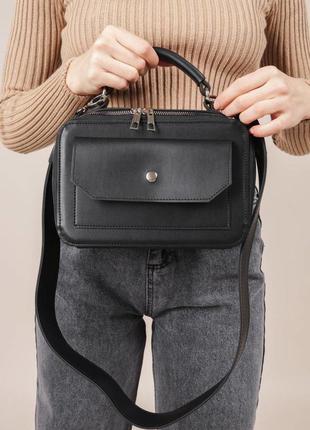 Сумка черная сумка через плечо черный клатч через плечо сумка на широком ремне кроссбоди