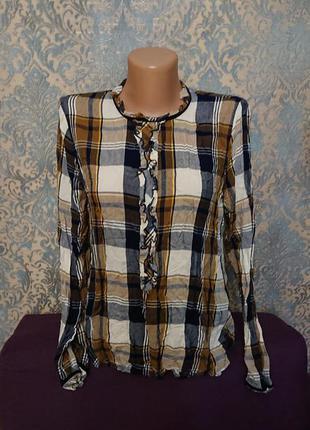 Женская блуза в клетку с рюшами блузка рубашка кофта р.s