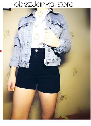 Чёрные джинсовые шорты-американки