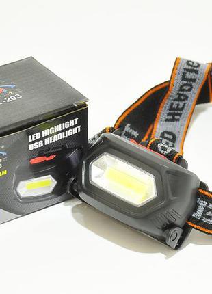 Ліхтар акумуляторний налобний x-balog bl 203 cob налобный фонарик светодиодный