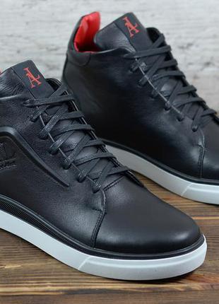 Мужские кожаные зимние ботинки/кеды