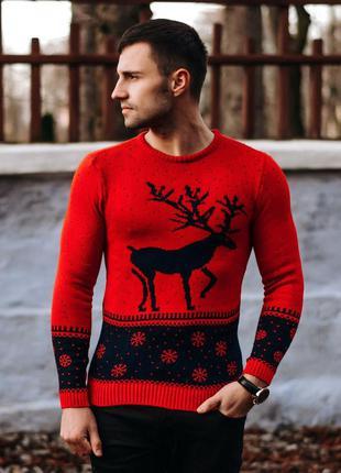 Новогодний свитр джемпер мужской на фотосессию с оленем