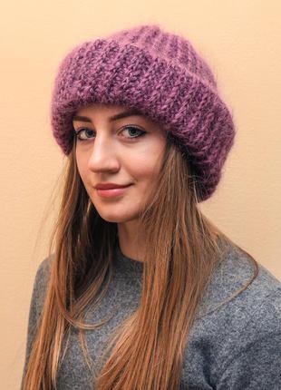 Мохеровая шапочка пушистая шапка бини фиолетовая пушистая вязаная женская шапочка