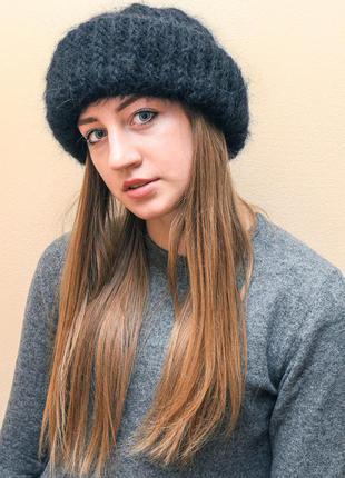 Мохеровая шапочка пушистая шапка бини черная пушистая вязаная женская шапочка