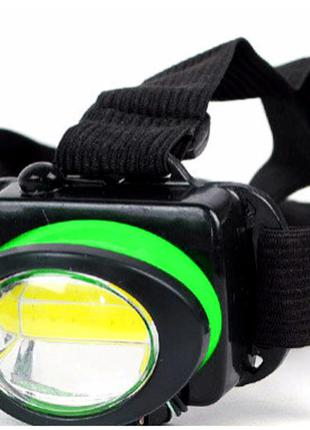 Ліхтар налобний bl 539 cob green налобный фонарь