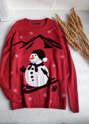 ✨класний, довгий светр із сніговиком , свитер батал✨1 фото