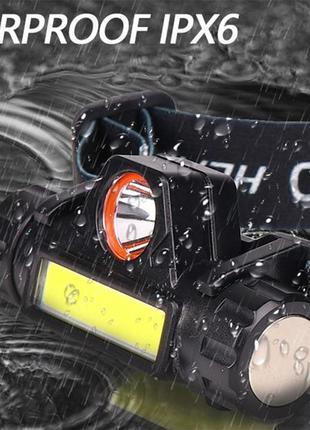 Ліхтар акумуляторний налобний x-balog 8101 xpe + cob налобный фонарик светодиодный