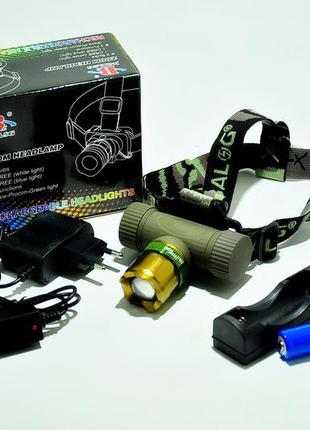 Ультрафіолетовий налобний ліхтарик bailong police bl-6866