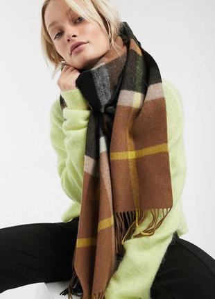 Уютный мягкий шарф weekday , 100 % шерсть , 61 см х 200 см
