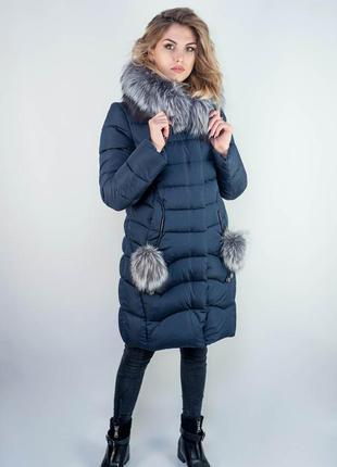 Теплая удлиненная женская куртка