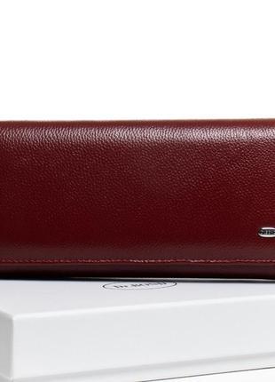 Кошелек кожаний женский портмоне гаманець жіночий шкіряний бордо