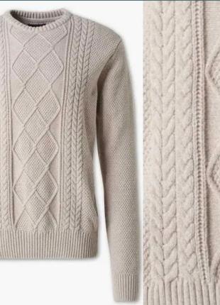 Бежевый благородный свитер пуловер из хлопка и шерсти c&a р.xxl качество нм