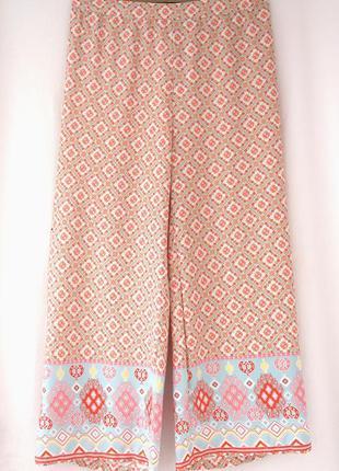 """Стильные легкие летние брюки свободного кроя """"peacocks"""" с узором. размер uk16/eur 44."""