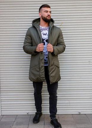 Зимняя удлиненная куртка цвета хаки