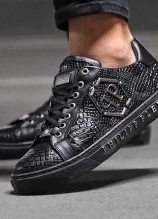 Мужские премиум кроссовки philipp plein black alligator