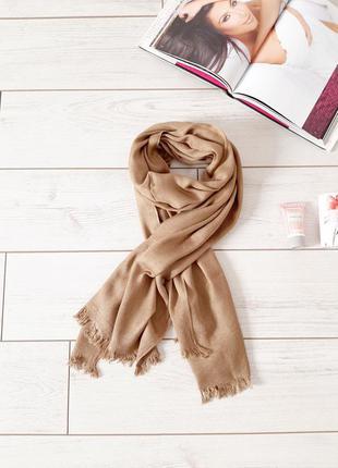 Базовый большой шарф_бежево песочный цвет