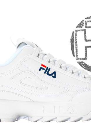 Женские кроссовки fila disruptor ii 2 leather white navy blue red  fw01655-1111 ... 3667acc98be43