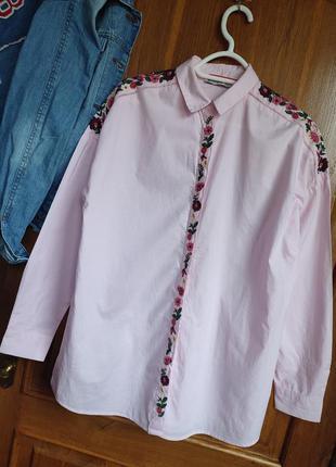 Шикарная рубашка оверсайз с вышивкой
