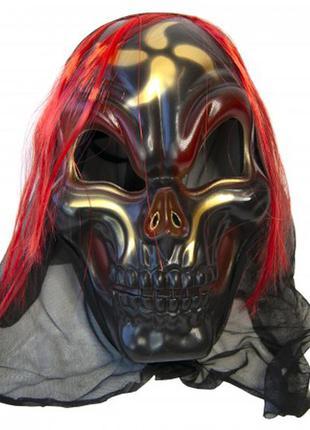 Маска карнавальная на хэллоуин смерть темная в капюшоне с волосами +подарок