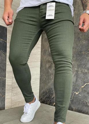 Мужские джинсы укороченные хаки