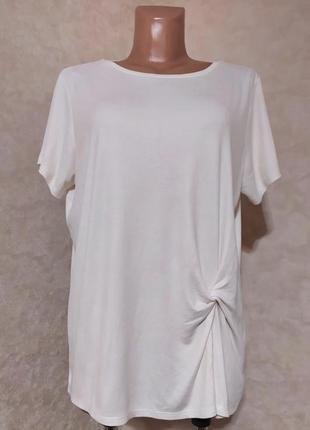 Стильная кремовая футболка в рубчик, george, xxl