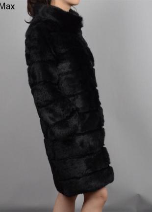 Чёрная шуба натуральный королевский кролик поперечка воротник стойка
