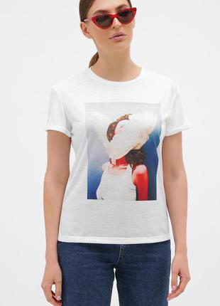 Glem голубой-перья белые футболка boy-2