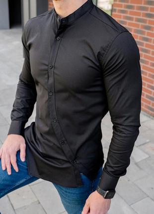 Мужская рубашка черная скошенная