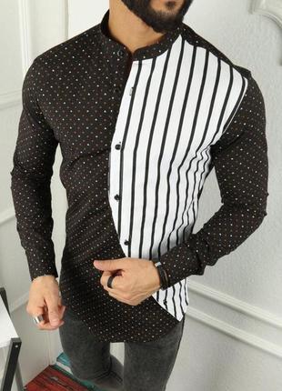 Мужская рубашка черная с белым в полоску
