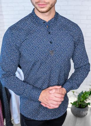 Мужская рубашка синяя с мелким принтом