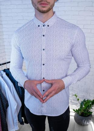 Рубашка мужская белая принтованная