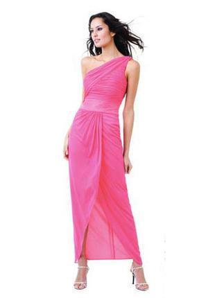 Ярко-розовое шифоновое платье, м -l