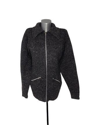 Кофта вязаная на замке свитер теплый columbia размер м темно серая зимняя