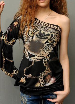 Блузка туніка з оригінальним рукавом на одне плече. s.