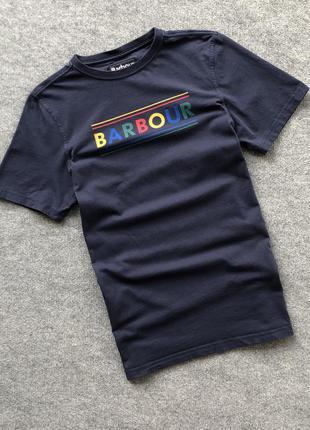 Крута футболка barbour big logo t-shirt navy
