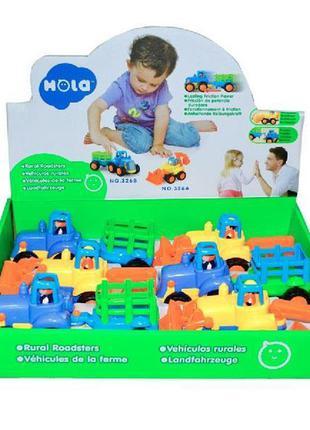 Набор игрушечных машинок hola toys бульдозер и трактор, 6 шт. (326ab-6)