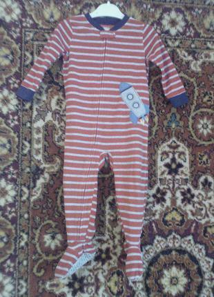 Carters 24мес. 2t. флисовый человечек ромпер пижама на змейке ракета