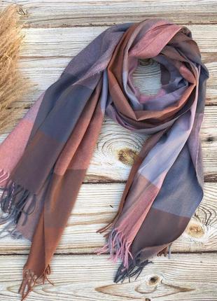 Кашеміровий теплий шарф-палантин у клітинку