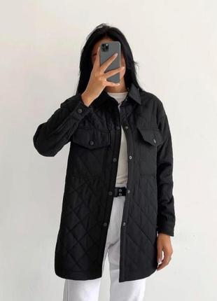 Zara стёганое пальто рубашка