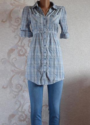 Большой выбор блуз - удлиненная рубашка в клетку голубого цвета с кармашками на груди