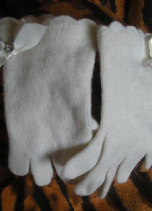 Супер перчатки белого цвета,66%шерсть,23%ангора,11%нейлон,р.s