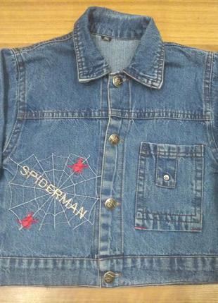 Коттоновый, джинсовый пиджак spiderman на возраст 3-4 года