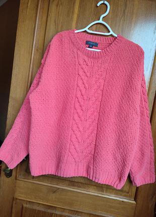 Теплый вязанный свитер оверсайз