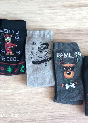 Набор трикотажных новогодних носков на мальчика размер ноги 34-36