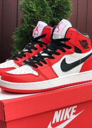 Кросівки nike air jordan 1 червоні з білим
