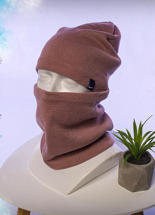 Зимний комплект шапка+бафф nike beige