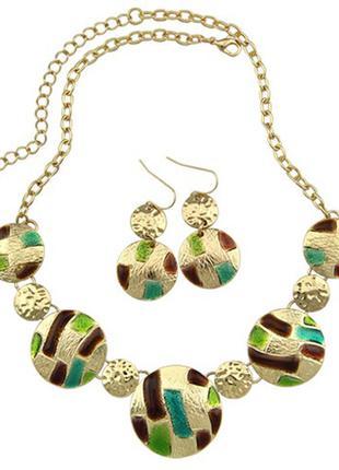 Комплект украшений лючия (колье + серьги) зелёный